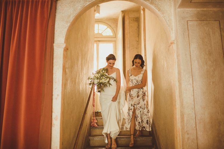 Bride in Karen Willis Holmes Gown | Bridesmaid in Floral Dress | Outdoor Destination Wedding at Villa Regina Teodolinda, Lake Como, Italy | Matt Penberthy Photography