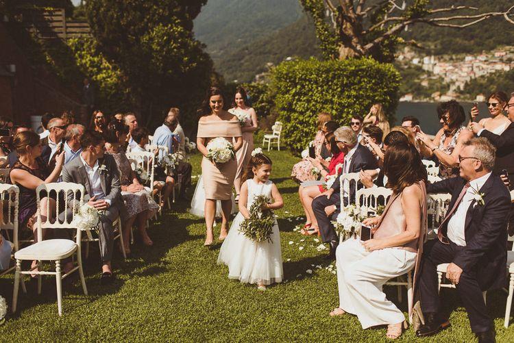 Bridal Party Entrance | Wedding Ceremony | Outdoor Destination Wedding at Villa Regina Teodolinda, Lake Como, Italy | Matt Penberthy Photography