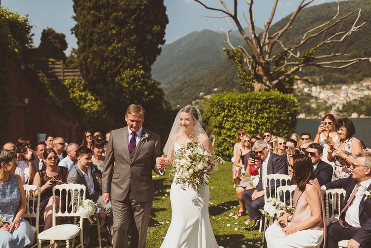 Wedding Ceremony | Bridal Entrance in Karen Willis Holmes Gown | Outdoor Destination Wedding at Villa Regina Teodolinda, Lake Como, Italy | Matt Penberthy Photography