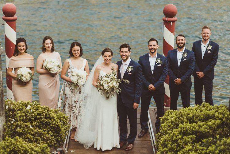 Wedding Party | Bride in Karen Willis Holmes Gown | Groom in Navy Peter Jackson Suit | Outdoor Destination Wedding at Villa Regina Teodolinda, Lake Como, Italy | Matt Penberthy Photography