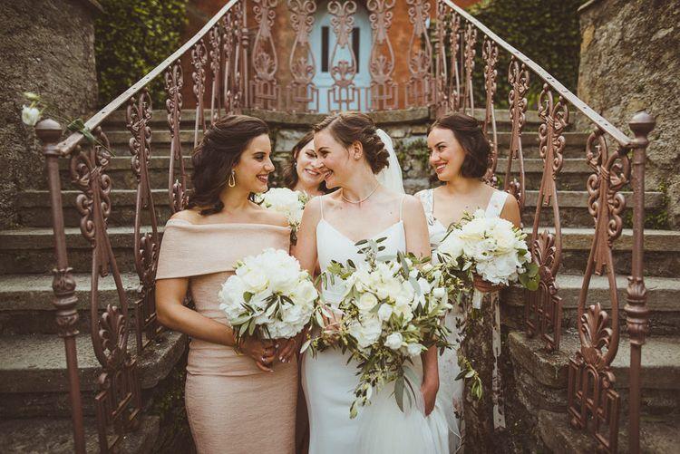 Bride in Karen Willis Holmes Gown | Bridesmaids in Different Blush Dresses | Outdoor Destination Wedding at Villa Regina Teodolinda, Lake Como, Italy | Matt Penberthy Photography