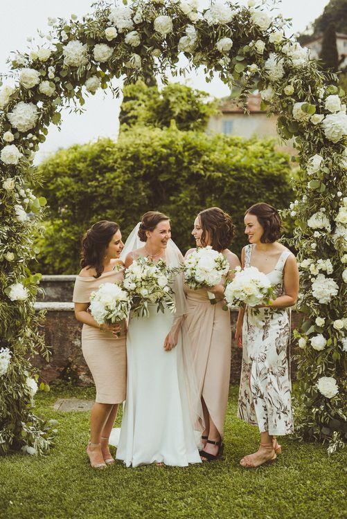 Bridesmaids in Different Blush Dresses | Bride in Karen Willis Holmes Gown | Outdoor Destination Wedding at Villa Regina Teodolinda, Lake Como, Italy | Matt Penberthy Photography