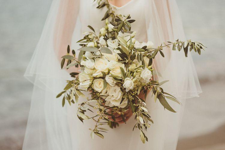White & Foliage Bouquet | Bride in Karen Willis Holmes Gown | Outdoor Destination Wedding at Villa Regina Teodolinda, Lake Como, Italy | Matt Penberthy Photography