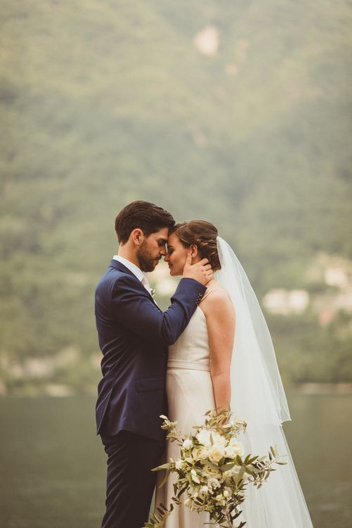 Bride in Karen Willis Holmes Gown | Groom in Navy Peter Jackson Suit | Outdoor Destination Wedding at Villa Regina Teodolinda, Lake Como, Italy | Matt Penberthy Photography