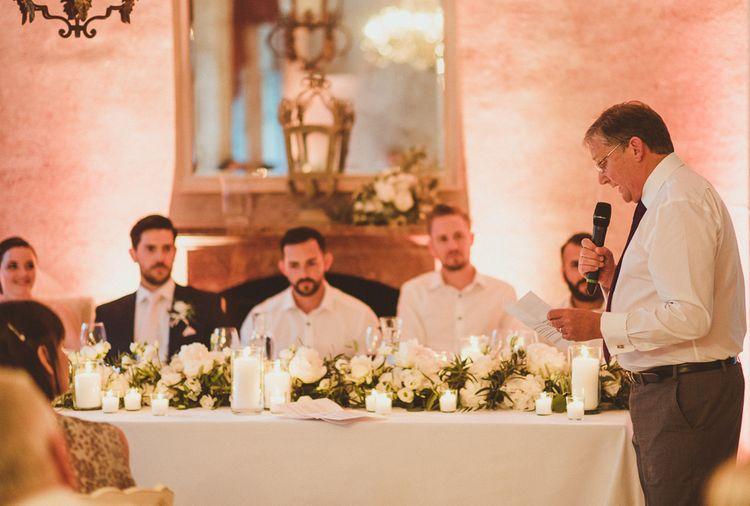 Speeches | Groom in Navy Peter Jackson Suit | Outdoor Destination Wedding at Villa Regina Teodolinda, Lake Como, Italy | Matt Penberthy Photography
