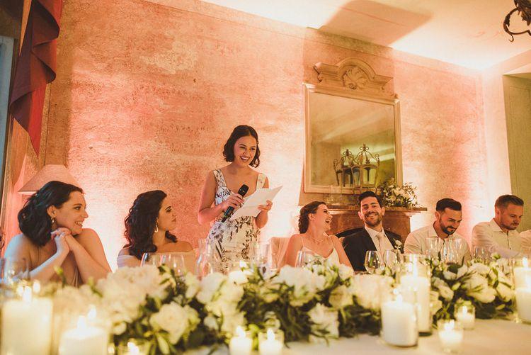 Speeches | Bridesmaid in Floral Dress | Outdoor Destination Wedding at Villa Regina Teodolinda, Lake Como, Italy | Matt Penberthy Photography