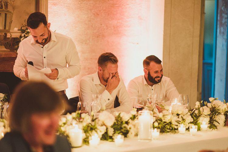 Speeches | Groomsmen in Navy Peter Jackson Suits | Outdoor Destination Wedding at Villa Regina Teodolinda, Lake Como, Italy | Matt Penberthy Photography