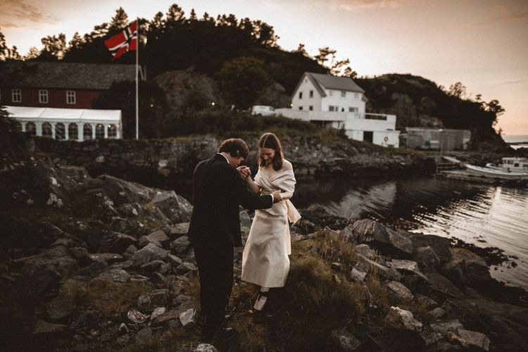 Outdoor Coastal Wedding at Stolmen, Norway | Bride in The Row Dress (SS15) from The Outnet | Benjamin Wheeler Photography