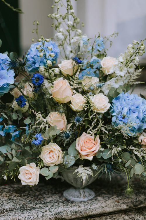 Pastel Blue & Peach Floral Arrangement by A Very Beloved Bloom