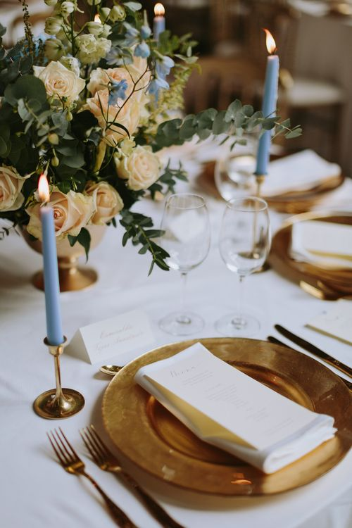Gold Platter & Cutlery Place Setting