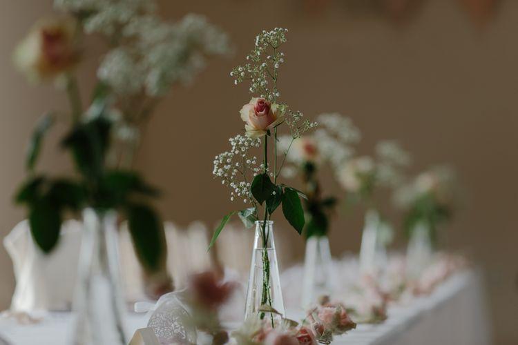 Flowers In Bud Vases For Wedding Table Decor