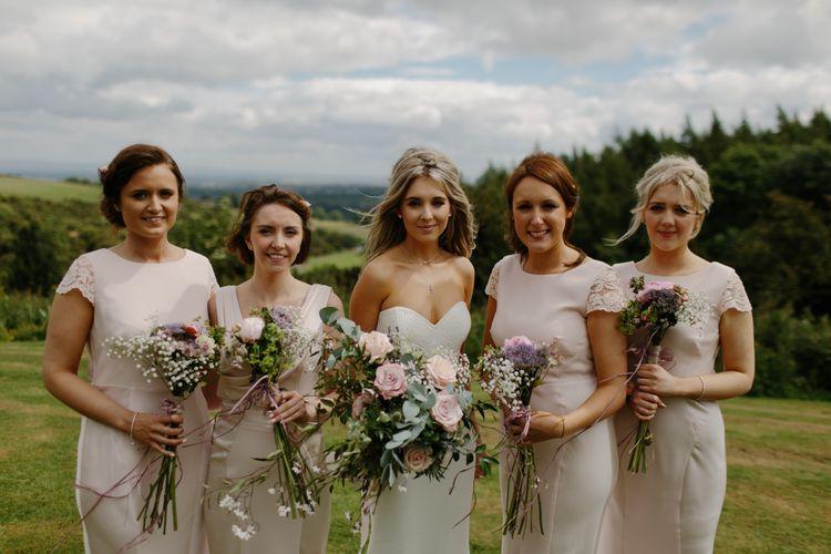 Stunning Ava Rose Hamilton Bride With Bridesmaids In Pink Coast Dresses