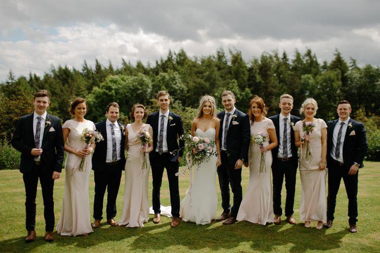 Elegant Wedding Party In Navy & Pink