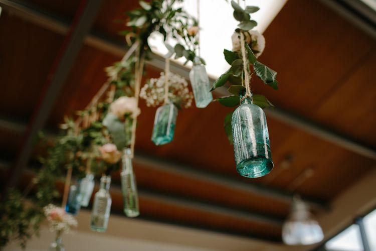 Hanging Bottles Wedding Decor