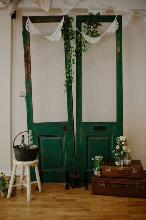 DIY Photobooth Backdrop With Vintage Wooden Doors