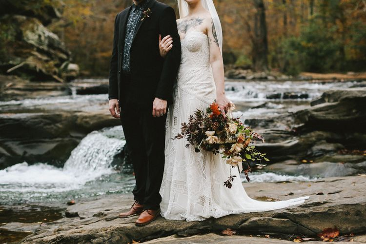 Autumnal Folk Meets Rock N Roll Alternative Inspiration with Styling by Repertoire Assist | Lace Rue de Seine Bridal Gown | Old Frond Floral Co. Flower Design | Images by Wesley & Emma
