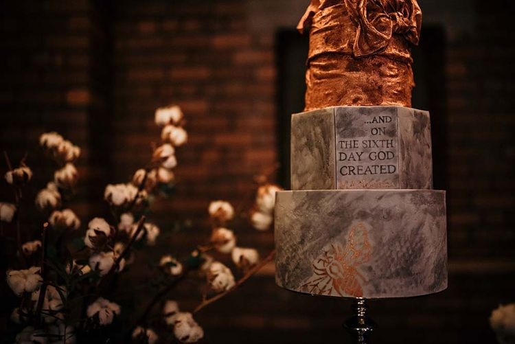 Marble Geometric Wedding Cake | Industrial Wedding Inspiration at Victoria Warehouse in Manchester | Planning & Styling by The Urban Wedding Company | 2 Ducks Galleries