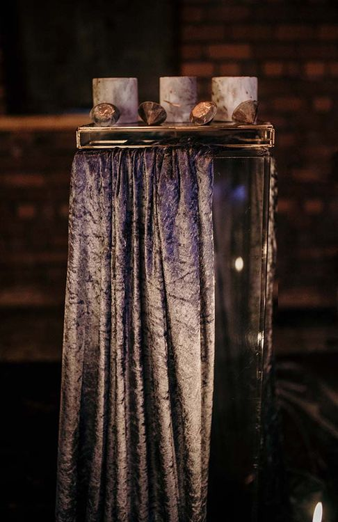 Velvet Table Cloth | Mini Marble Cakes | Industrial Wedding Inspiration at Victoria Warehouse in Manchester | Planning & Styling by The Urban Wedding Company | 2 Ducks Galleries