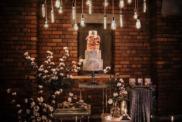 Marble Wedding Cake | Cotton Bud Flowers | Edison Lights | Industrial Wedding Inspiration at Victoria Warehouse in Manchester | Planning & Styling by The Urban Wedding Company | 2 Ducks Galleries
