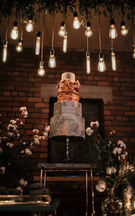 Marble Wedding Cake | Edison Lights | Industrial Wedding Inspiration at Victoria Warehouse in Manchester | Planning & Styling by The Urban Wedding Company | 2 Ducks Galleries