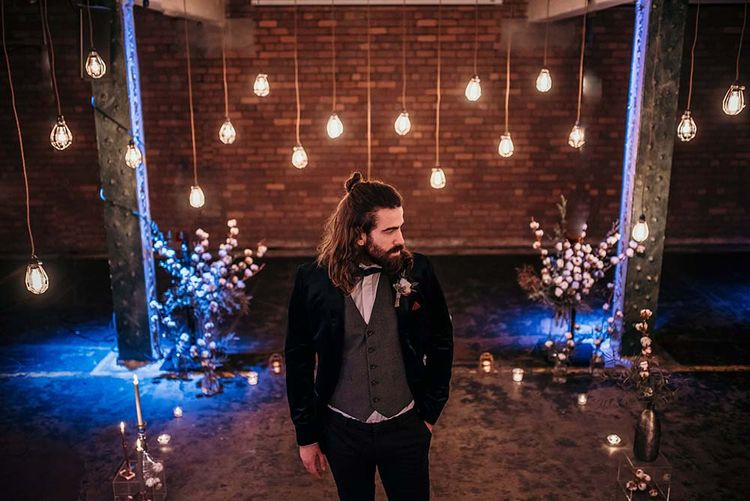 Stylish Bearded Groom | Edison Lights | Industrial Wedding Inspiration at Victoria Warehouse in Manchester | Planning & Styling by The Urban Wedding Company | 2 Ducks Galleries