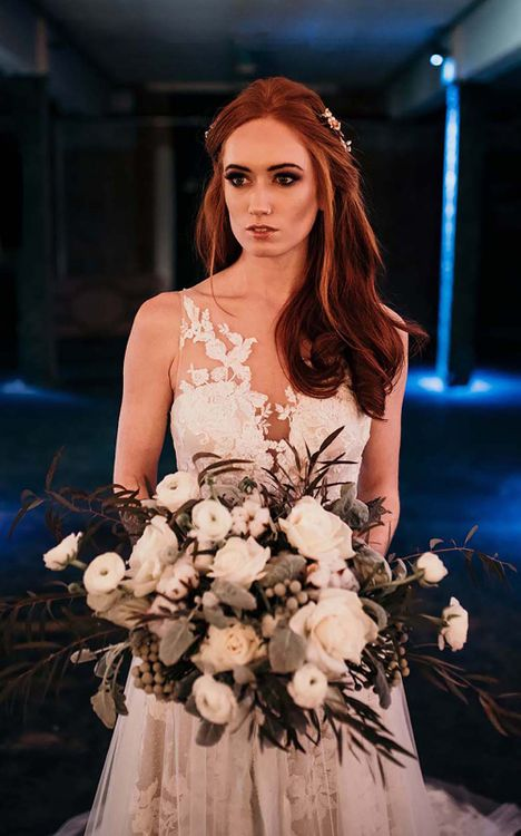 Bride in Lace Gown from Frock & Soul | White Rose & Cotton Bud Bouquet | Industrial Wedding Inspiration at Victoria Warehouse in Manchester | Planning & Styling by The Urban Wedding Company | 2 Ducks Galleries