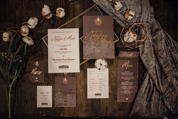 Frain & Grain Gold Foil Wedding Stationery | Industrial Wedding Inspiration at Victoria Warehouse in Manchester | Planning & Styling by The Urban Wedding Company | 2 Ducks Galleries