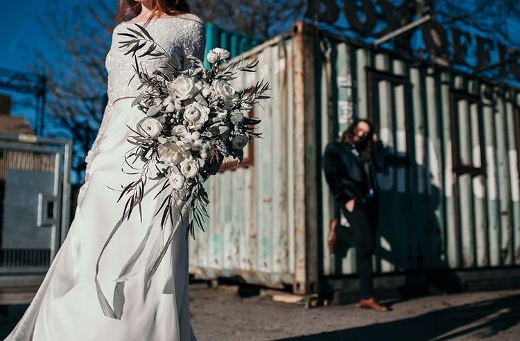 White Rose & Cotton bud Bouquet | Stylish Bride & Groom | Industrial Wedding Inspiration at Victoria Warehouse in Manchester | Planning & Styling by The Urban Wedding Company | 2 Ducks Galleries