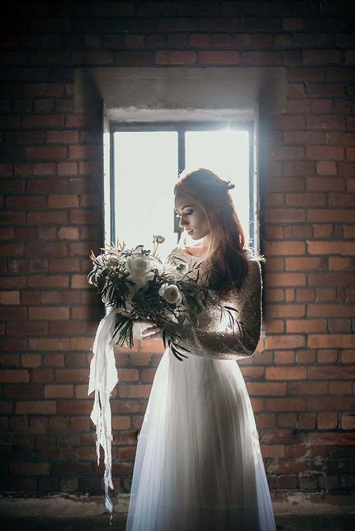 Stylish Bride | White Rose & Cotton Bud Bouquet | Industrial Wedding Inspiration at Victoria Warehouse in Manchester | Planning & Styling by The Urban Wedding Company | 2 Ducks Galleries