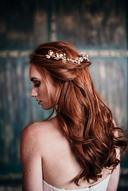 Stylish Bride | Half Up Half Down Bridal Hair Style | Industrial Wedding Inspiration at Victoria Warehouse in Manchester | Planning & Styling by The Urban Wedding Company | 2 Ducks Galleries