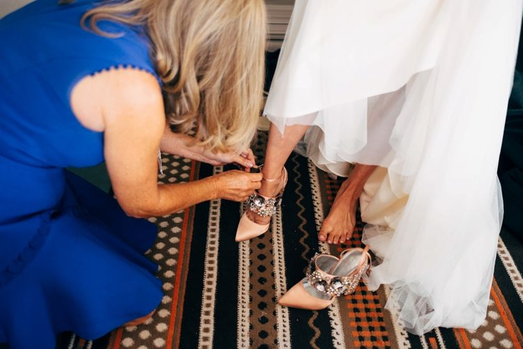 ASOS Jewel Wedding Shoes | Outdoor Ceremony & Rustic Wedding at Patricks Barn, Sussex | Dale Weeks Photography | Love Filmed