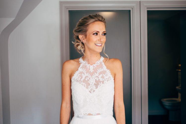 Bride in Watters Peyton Top & Gracia Skirt Bridal Separates | Outdoor Ceremony & Rustic Wedding at Patricks Barn, Sussex | Dale Weeks Photography | Love Filmed