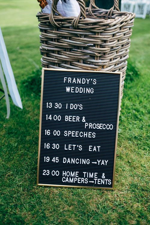 Peg Board Order of The Day Wedding Sign | Outdoor Ceremony & Rustic Wedding at Patricks Barn, Sussex | Dale Weeks Photography | Love Filmed