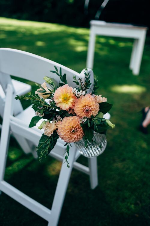Dahlia Aisle Chair Decor | Outdoor Ceremony & Rustic Wedding at Patricks Barn, Sussex | Dale Weeks Photography | Love Filmed