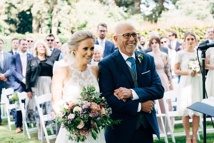 Bridal Entrance Watters Peyton Top & Gracia Skirt Bridal Separates | Outdoor Ceremony & Rustic Wedding at Patricks Barn, Sussex | Dale Weeks Photography | Love Filmed