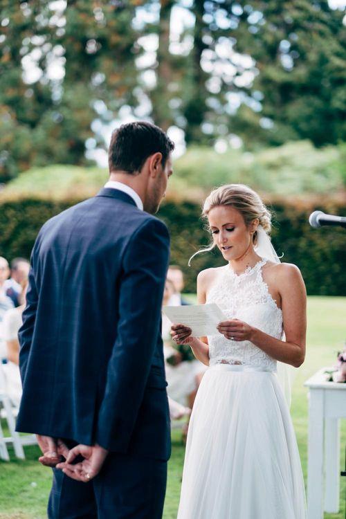 Outdoor Wedding Ceremony | Bride in Watters Peyton Top & Gracia Skirt Bridal Separates | Groom in Next Suit | Rustic Wedding at Patricks Barn, Sussex | Dale Weeks Photography | Love Filmed