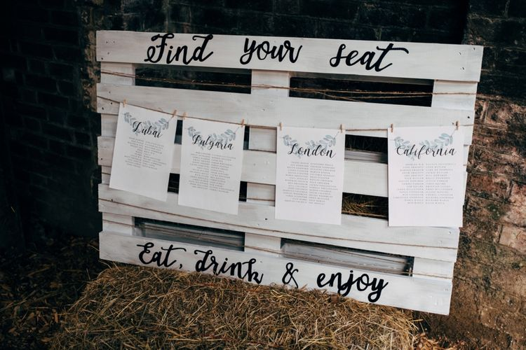 Wooden Palette Table Plan | Outdoor Ceremony & Rustic Wedding at Patricks Barn, Sussex | Dale Weeks Photography | Love Filmed
