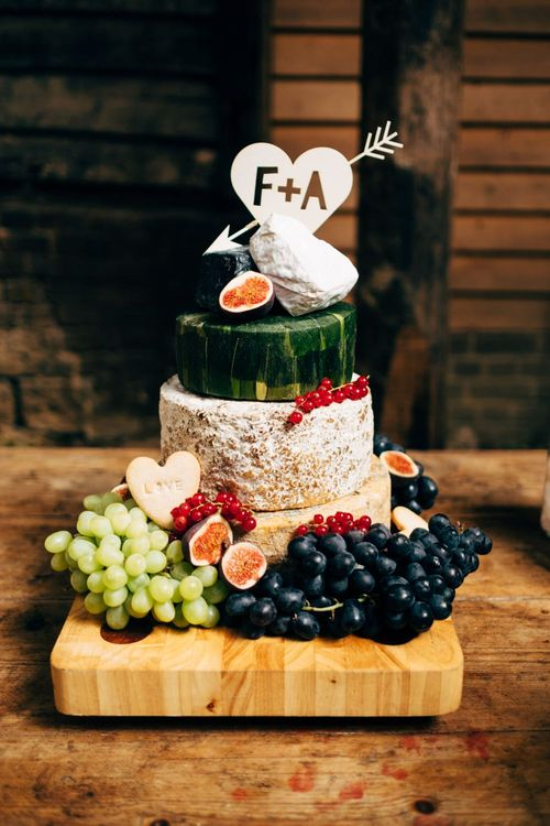 Cheese Tower Wedding Cake | Outdoor Ceremony & Rustic Wedding at Patricks Barn, Sussex | Dale Weeks Photography | Love Filmed