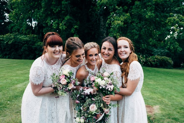 Bride in Watters Peyton Top & Gracia Skirt Bridal Separates | White Marks and Spencer Bridesmaid Dressed | Outdoor Ceremony & Rustic Wedding at Patricks Barn, Sussex | Dale Weeks Photography | Love Filmed
