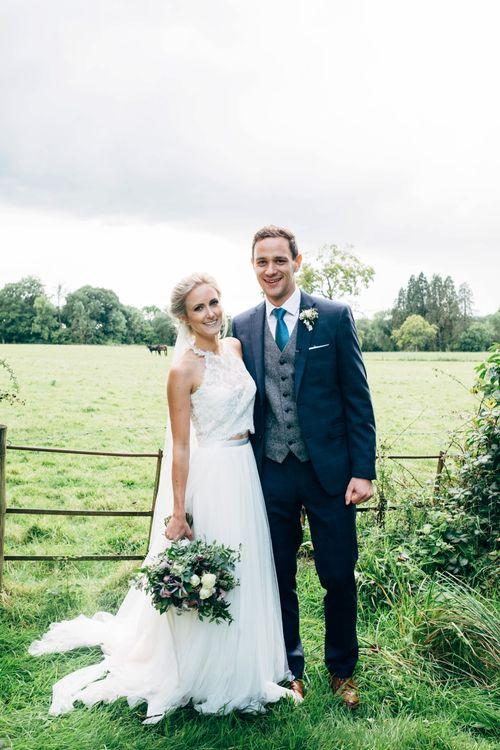Bride in Watters Peyton Top & Gracia Skirt Bridal Separates | Groom in Next Suit | Rustic Wedding at Patricks Barn, Sussex | Dale Weeks Photography | Love Filmed