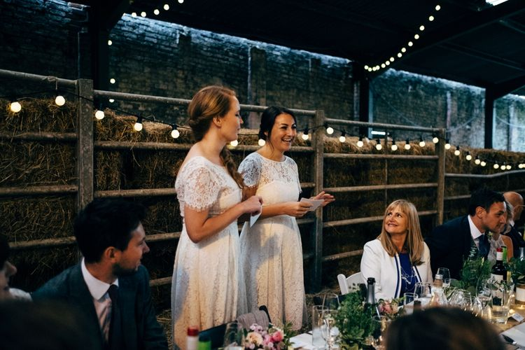 Bridesmaids in White Marks and Spencer Bridesmaid Dresses | Rustic Wedding at Patricks Barn, Sussex | Dale Weeks Photography | Love Filmed