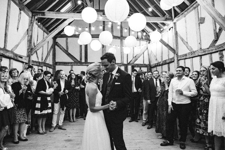 First Dance | Bride in Watters Peyton Top & Gracia Skirt Bridal Separates | Groom in Next Suit | Rustic Wedding at Patricks Barn, Sussex | Dale Weeks Photography | Love Filmed