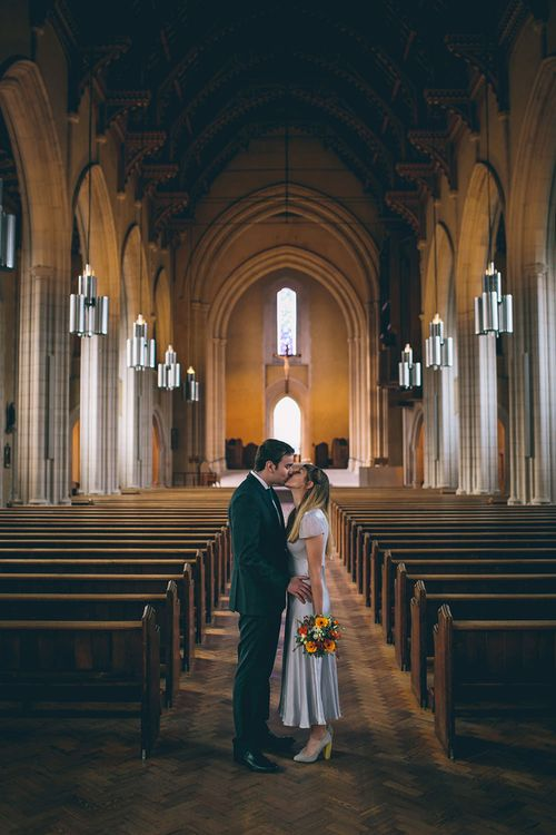 Bride & Groom at Ealing Abbey Intimate Church Wedding Ceremony