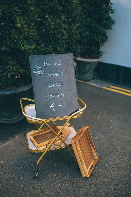 vintage Hostess Trolley & Chalkboard Wedding Sign
