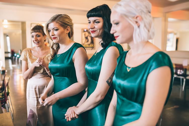 Bridesmaids in Forest Green Ghost Dresses