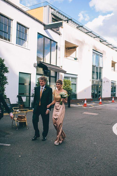Bridal Entrance in Bespoke Gold Wedding Dress