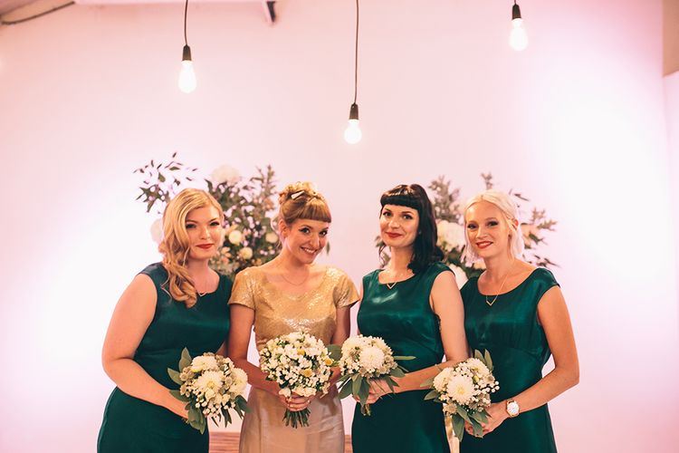 Bride in Bespoke Gold Gown and Bridesmaids in Forest Green Ghost Dresses