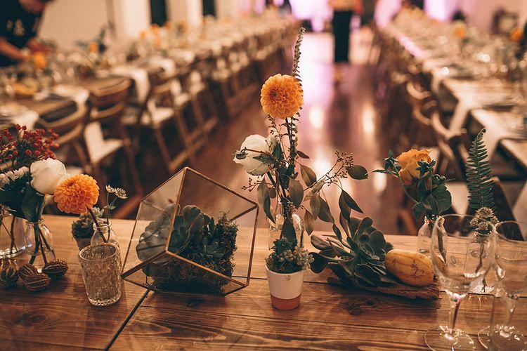 Terrarium & Autumnal Blooms Wedding Decor