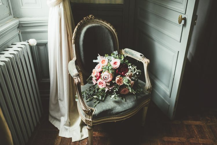 Wedding Bouquet With Pink Roses