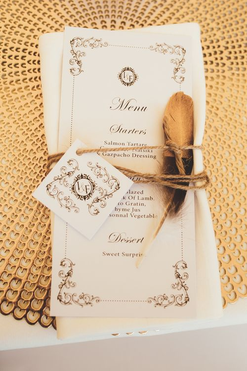 Place Setting With Feathers